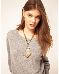 ASOS - Natural Oversize Anchor Necklace - Lyst
