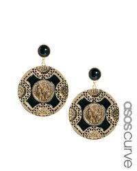 ASOS - Black Asos Cameo Doorknocker Earrings - Lyst