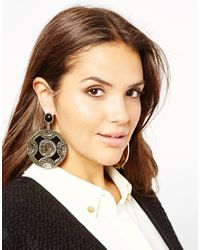 ASOS - Black Asos Cameo Doorknocker Earrings - Lyst