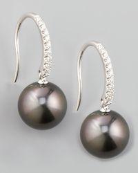 Eli Jewels - Metallic Gray South Sea Pearl & Diamond Drop Earrings - Lyst