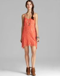 Free People - Orange Dress Beaded Mesh Cocktail - Lyst