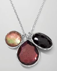 Ippolita - Black Sterling Silver Wonderland 3stone Charm Necklace in Pizzelle 1618 - Lyst