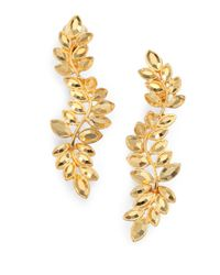 Kenneth Jay Lane - Metallic Faceted Leaf Drop Earrings - Lyst