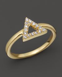 Khai Khai | Diamond Alt-j Knuckle Ring In 18k Yellow Gold, .08 Ct. T.w. | Lyst