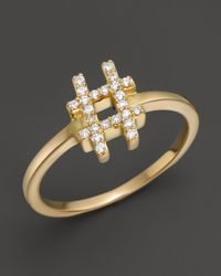Khai Khai - Metallic Diamond Hashtag Ring In 18K Yellow Gold, .1 Ct. T.W. - Lyst