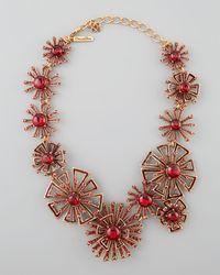 Oscar de la Renta - Brown Firework Link Necklace Ruby Red - Lyst