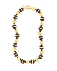 Brooks Brothers - Metallic Gold and Black Bead Collar Necklace - Lyst
