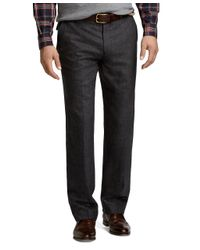 Brooks Brothers | Gray Fitzgerald Fit Plaid Plain-front Dress Trousers for Men | Lyst