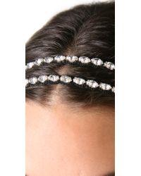 Deepa Gurnani - Black Double Crystal Headband - Lyst