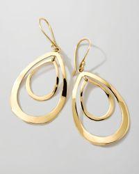 Ippolita   Metallic 18k Gold Open Double Teardrop Earrings   Lyst