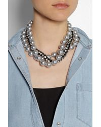 Kenneth Jay Lane - Gray Gunmetalplated Swarovski Crystal and Faux Pearl Necklace - Lyst