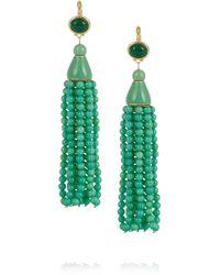 Kenneth Jay Lane | Green Goldplated Beaded Tassel Earrings | Lyst
