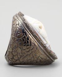 Amedeo | Metallic Black Diamond-trim Pirate Skull Cameo Ring | Lyst