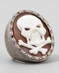Amedeo | Metallic Diamond-trim Hand-carved Skull Cameo Ring | Lyst