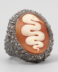 Amedeo | Orange Diamond-trim Hand-carved Snake Cameo Ring | Lyst