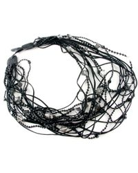 Black.co.uk - Black Indus Leather and Bead Tangle Necklace - Lyst