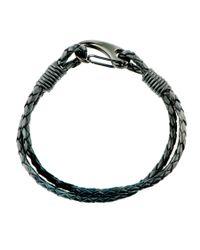 Black.co.uk - Woven Black Leather And Steel Bracelet for Men - Lyst
