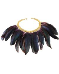 Black.co.uk - Metallic Peacock Feather Bib Necklace - Lyst