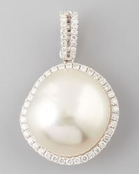 Eli Jewels | White South Sea Pearl And Diamond Halo Pendant | Lyst