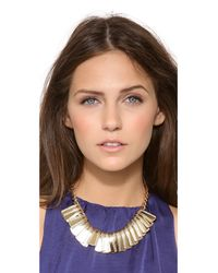 Elizabeth Cole - Metallic Curled Plate Collar Necklace - Lyst