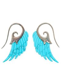 Noor Fares - Blue 18K Gold And Turquoise Wing Earrings - Lyst