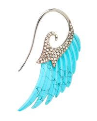 Noor Fares | Blue 18K Gold And Turquoise Wing Earrings | Lyst