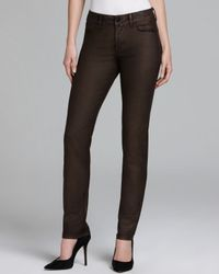 NYDJ | Brown Sheri Copper Coated Skinny Jeans | Lyst