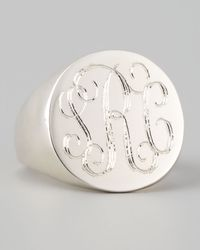 Sarah Chloe - Gray Lana Monogrammed Round Signet Ring - Lyst