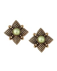 Stephen Dweck | Green Pearl Center Quilted Button Earrings | Lyst
