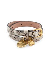 Alexander McQueen | Gray Snakeskin-embossed Leather Skull Wrap Bracelet | Lyst