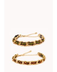 Forever 21 | Red Friendship Curb Chain Bracelets | Lyst