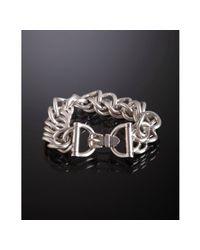 Hermès - Metallic Sterling Silver Rombo Chain Buckle Clasp Bracelet - Lyst