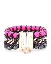 Proenza Schouler - Pink Ladder Chain and Faux Pearl Bracelet - Lyst