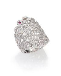 Roberto Coin - Metallic Diamond 18k White Gold Mauresque Wide Ring - Lyst