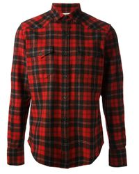 Saint Laurent - Red Check Shirt for Men - Lyst