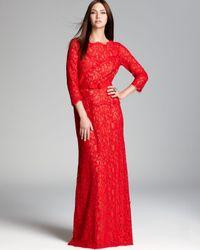 Tadashi Shoji - Red Lace Gown Three Quarter Sleeve - Lyst