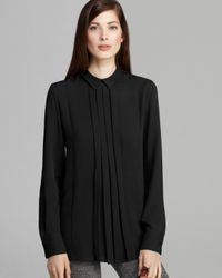 Theory - Black Blouse Forta Double Georgette - Lyst