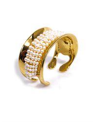Aurelie Bidermann   White Cheyne Pearl Gold Plated Cuff   Lyst
