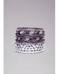 Bebe - Purple Spike Mesh Crystal Bangle Set - Lyst