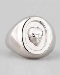 Eddie Borgo - Metallic Skull Cameo Ring Silver for Men - Lyst