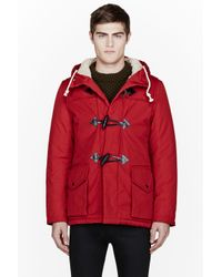 Nanamica Red Hooded Duffle Coat in Red for Men   Lyst