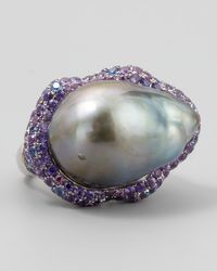 Eli Jewels | Metallic Gray Pearl Halo Ring With Blue And Purple Sapphire | Lyst