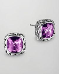 John Hardy | Metallic Batu Chain Amethyst Stud Earrings | Lyst