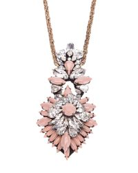 Shourouk | Pink Crystal Pendant Necklace | Lyst