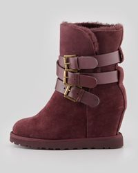 Ash - Red Yes Shearlingcuff Wedge Boot Burgundy - Lyst