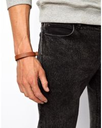 ASOS - Brown Leather Bracelet with Embossed Anchor for Men - Lyst