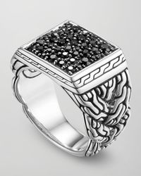 John Hardy - Metallic Classic Chain Silver Lava Square Ring with Black Sapphire Size 10 for Men - Lyst