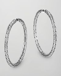 John Hardy - Metallic Chain Silver Hoop Earrings - Lyst