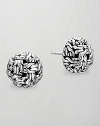 John Hardy - Metallic Classic Chain Silver Knot Stud Earrings - Lyst