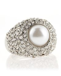 Kenneth Jay Lane | Metallic Pave Pearlcenter Adjustable Ring | Lyst